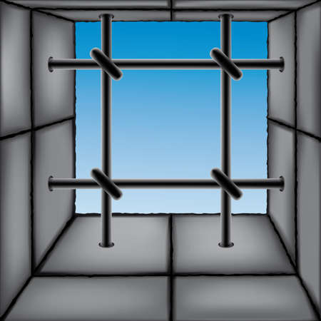 Barred window as a design element. Each object is fully editable and is located on a separate layer