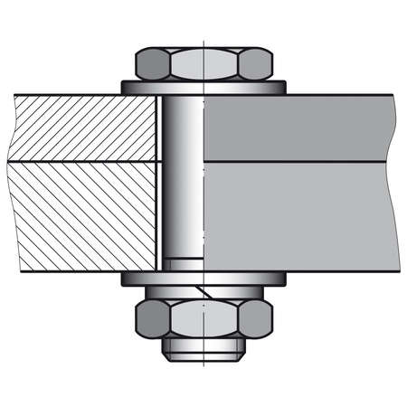 Drafting sketch of a screw connection