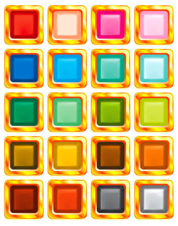 Set of 20 varicolored buttons in gold frames on white background Vector