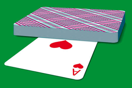 Deck of cards on green surface Vector