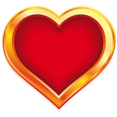 Stylized gold valentine heart on white background