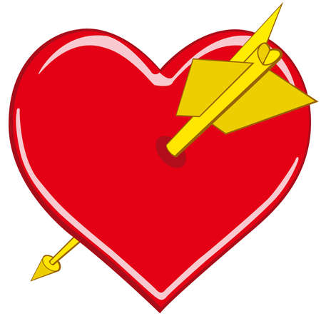 Stylized valentine heart pierced by an arrow. Vector without gradients Vector