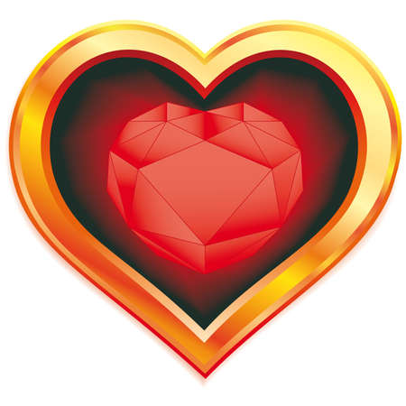 Ruby heart in gold frame Vector