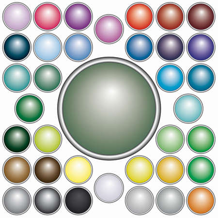 Set of 37 varicolored round buttons for web design - blend only Vector