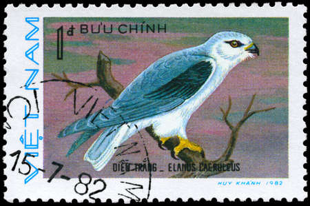 VIETNAM - CIRCA 1982: A Stamp shows image of a Black-winged Kite with the inscription