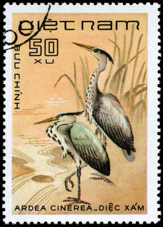 VIETNAM - CIRCA 1983: A Stamp shows image of a Grey Heron with the inscription