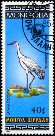 MONGOLIA - CIRCA 1985: A Stamp shows image of a Snow Crane Stock Photo - 8880448