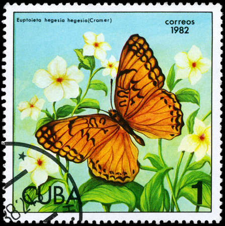 cuba butterfly: CUBA - CIRCA 1982: A Stamp printed in CUBA shows image of a Butterfly with the description Euptoieta hegesia, series, circa 1982  Stock Photo