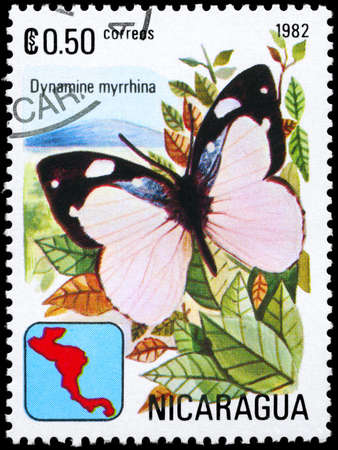 NICARAGUA - CIRCA 1982: A Stamp printed in NICARAGUA shows image of a Butterfly with the description Dynamine myrrhina, series, circa 1982 photo