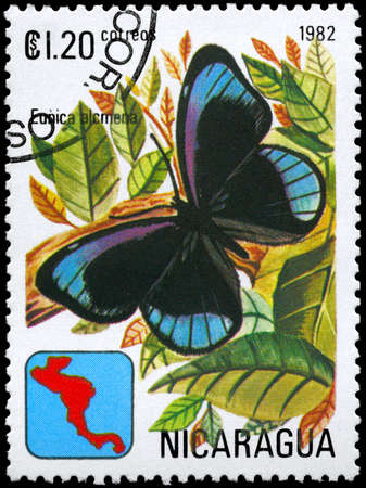 NICARAGUA - CIRCA 1982: A Stamp printed in NICARAGUA shows image of a Butterfly with the description Eunica alcmena, series, circa 1982 photo
