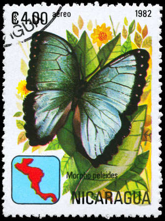 NICARAGUA - CIRCA 1982: A Stamp printed in NICARAGUA shows image of a Butterfly with the description Morpho peleides, series, circa 1982  photo