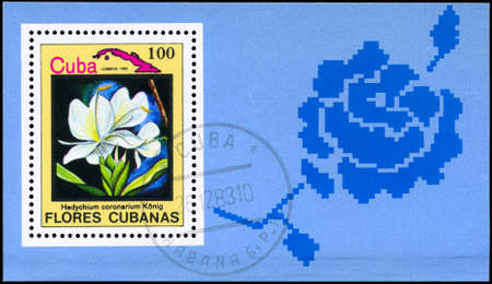 phytology: CUBA - CIRCA 1983: A Stamp sheet shows image of a Flower on the theme Cuban Flowers, circa 1983