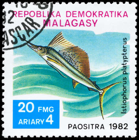 MALAGASY - CIRCA 1982: A Stamp printed in MALAGASY shows image of a Sailfish with the inscription