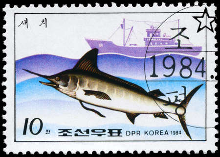NORTH KOREA - CIRCA 1984: A Stamp printed in NORTH KOREA shows image of a Marlin and Trawler from the series