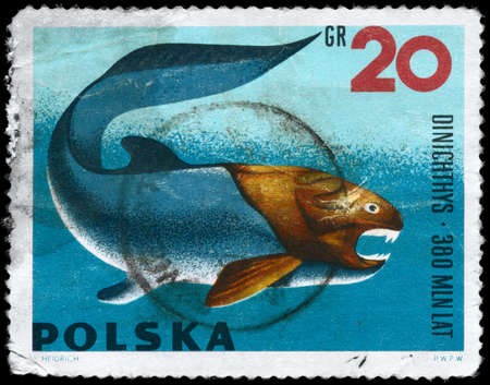 POLAND - CIRCA 1966: A Stamp printed in POLAND shows image of a Dunkleosteus with the inscription Dinichthys from the series Prehistoric Animals, circa 1966 photo
