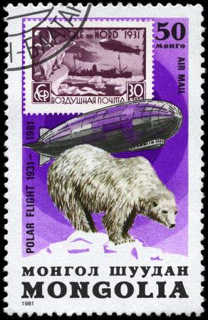 graf: MONGOLIA - CIRCA 1981: A Stamp printed in MONGOLIA shows the image of the Graf Zeppelin & Polar Bear from the series Polar Flight 1931-1981, circa 1981