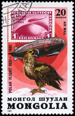 graf: MONGOLIA - CIRCA 1981: A Stamp printed in MONGOLIA shows the image of the Graf Zeppelin & Sea Eagle from the series Polar Flight 1931-1981, circa 1981