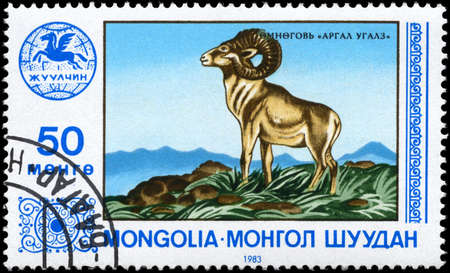 MONGOLIA - CIRCA 1983: A Stamp printed in MONGOLIA shows image of a Bighorn, series, circa 1983 photo