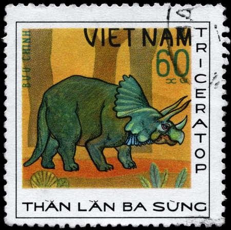 triplex: VIETNAM - CIRCA 1978: A Stamp printed in VIETNAM shows image of a Triceratops from the series Dinosaurs, circa 1978