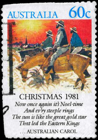 estrofa: AUSTRALIA - alrededor de 1981: A sello impreso en AUSTRALIA muestra el himno de Navidad - Noeltime (villancicos por William James y John Wheeler), serie, alrededor de 1981 Foto de archivo