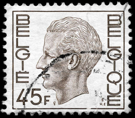 baudouin: BELGIUM - CIRCA 1980: A Stamp printed in BELGIUM shows the portrait of a Baudouin I (1930-1993) reigned as King of the Belgians, series, circa 1980