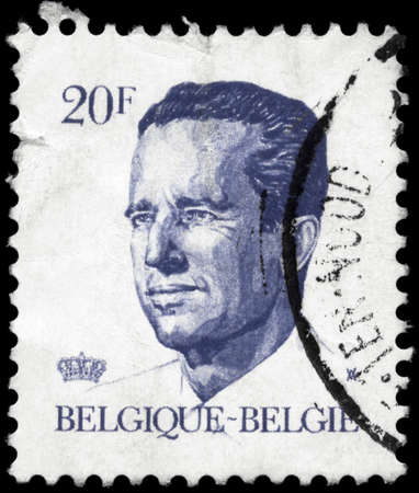 BELGIUM - CIRCA 1984: A Stamp printed in BELGIUM shows the portrait of a Baudouin I (1930-1993) reigned as King of the Belgians, series, circa 1984 photo