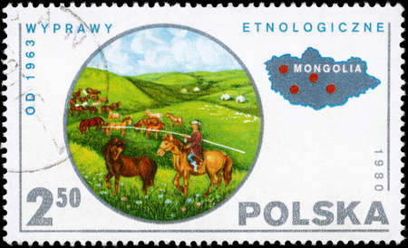 ethnology: POLAND - CIRCA 1980: A Stamp printed in POLAND shows the theme of a Ethnology of Mongolia, (1963 Expedition), series, circa 1980