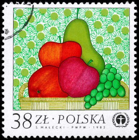 POLAND - CIRCA 1982: A Stamp printed in POLAND shows the Fruit, from the series