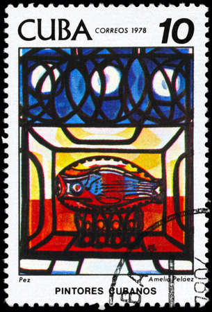 casal: CUBA - CIRCA 1978: A Stamp printed in CUBA shows the Painting Fish of the artist Amelia Pelaez del Casal (1896-1968), from the series Paintings, circa 1978