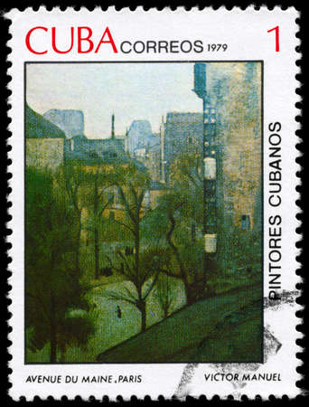 garcia: CUBA - CIRCA 1979: A Stamp printed in CUBA shows the Painting Main Avenue, Paris of the artist Victor Manuel Garcia (1897-1969), from the series Paintings, circa 1979