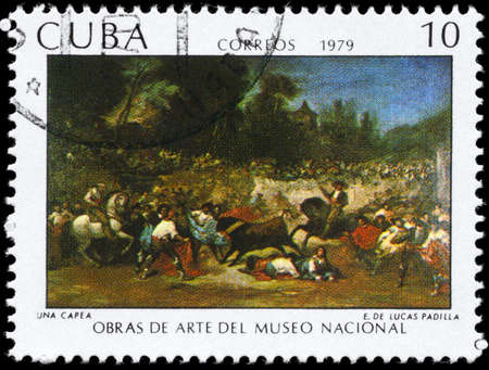 padilla: CUBA - CIRCA 1979: A Stamp printed in CUBA shows the Painting A Robbery of the artist Eugenio Lucas Padilla (1824-1870), from the series Paintings in the Natl.Museum of Art, circa 1979