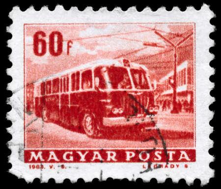motorbus: Hungr�a - alrededor de 1963: A sello impreso en Hungr�a muestra el troleb�s, serie, alrededor de 1963 Foto de archivo