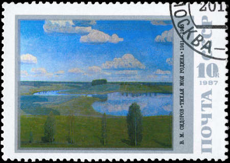 homeland: USSR - CIRCA 1987: A Stamp printed in USSR shows the painting My Quiet Homeland, by V.M.Sidorov, series, circa 1987