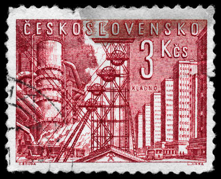 CZECHOSLOVAKIA - CIRCA 1961: A Stamp printed in CZECHOSLOVAKIA shows the Blast Furnace and Mine, circa 1961 photo