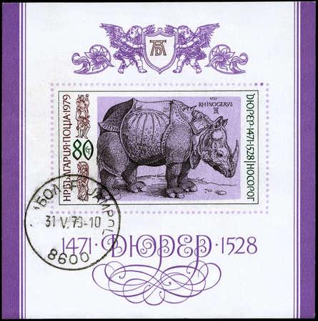 durer: BULGARIA - CIRCA 1979: A Stamp sheet printed in BULGARIA shows an engraving of Albrecht Durer (1471-1528) Rhinoceros, perforation printed, circa 1979 Stock Photo