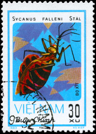 bedbug: VIETNAM - CIRCA 1982: A Stamp printed in VIETNAM shows the image of a Assassin Bug with the description Sycanus falleni Sta from the series Chinch Bugs, circa 1982