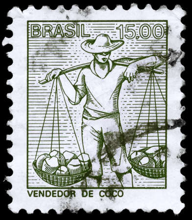 brazil nut: BRAZIL - CIRCA 1978: A Stamp printed in BRAZIL shows a Coconuts Seller, circa 1978
