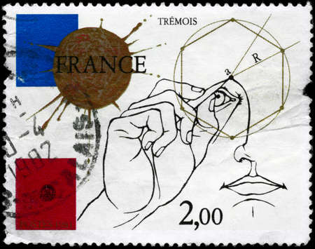 FRANCE - CIRCA 1981: A Stamp printed in FRANCE shows the Man Drawing Geometric Diagram, series, circa 1981 photo