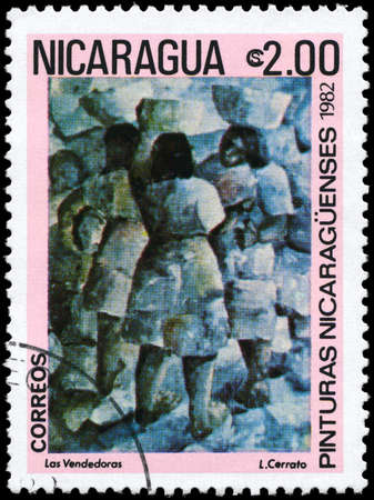 Nicaragua: NICARAGUA - CIRCA 1982: A Stamp printed in NICARAGUA shows the painting Street Vendors of the artist L.Cerrato, from the series Paintings, circa 1982