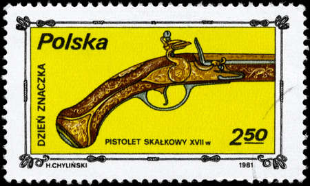 POLAND - CIRCA 1981: A Stamp printed in POLAND shows the image of the  old Pistol 17th century, from the series Stamp Day, circa 1981 photo