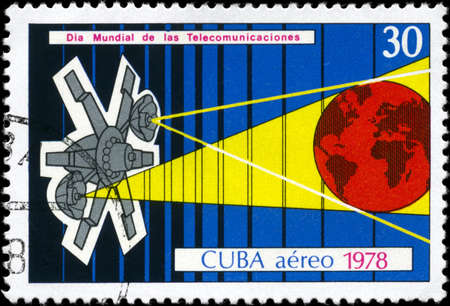 concatenation: CUBA - CIRCA 1978: A Stamp printed in CUBA devoted to World Telecommunications Day, circa 1978
