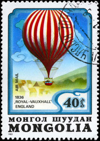 MONGOLIA - CIRCA 1982: A Stamp printed in MONGOLIA shows the Royal-Vauxhall Balloon (England 1836), from the series Balloon Flight Bicentenary, circa 1982 photo
