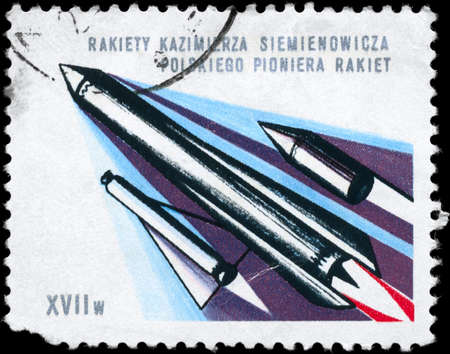 astronautics: POLAND - CIRCA 1980: A Stamp printed in POLAND shows the Multistage Rocket of the engineer K. Siemienowicz (1600-1651), pioneer of rocketry 17th cent., circa 1980 Stock Photo