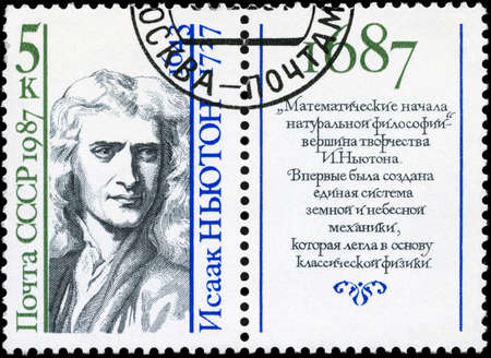 physicist: USSR - CIRCA 1987: A Stamp printed in USSR shows the portrait of a Sir Isaac Newton (1642-1727), English physicist and mathematician, from the series Scientists, circa 1987