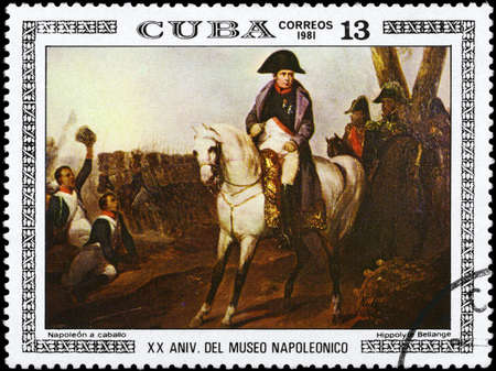 perforated stamp: CUBA - CIRCA 1981: A Stamp printed in CUBA shows the Napoleon on Horseback, by Hippolyte Bellange, from the series Paintings in the Napoleon Museum, circa 1981 Editorial
