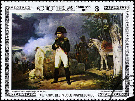 horace: CUBA - CIRCA 1981: A Stamp printed in CUBA shows the Napoleon with Landscape in the Background, by Jean Horace Vernet, from the series Paintings in the Napoleon Museum, circa 1981