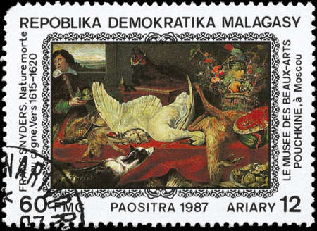 procure: MALAGASY REPUBLIC - CIRCA 1987: A Stamp printed in MALAGASY REPUBLIC shows the Still-life with Swan (1620), by Frans Snyders (1579-1647), from the series Paintings in the Pushkin Museum, Moscow, circa 1987