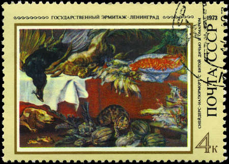 frans: USSR - CIRCA 1973: A Stamp printed in USSR shows Still Life, by Frans Snyders (1579-1657), from the series Foreign paintings in Russian museums, circa 1973 Stock Photo