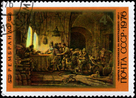parable: USSR - CIRCA 1976: A Stamp printed in USSR shows the Parable of the Workers in the Vineyard, by Rembrandt (1606-1669), from the series Rembrandt Paintings in Hermitage, circa 1976