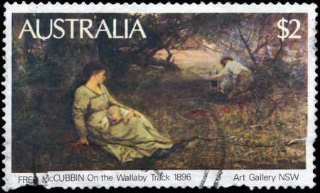 australia stamp: AUSTRALIA - CIRCA 1981: A Stamp printed in AUSTRALIA shows the On the Wallaby Track (1896), by Fred McCubbin, from the Art Gallery NSW, circa 1981 Stock Photo